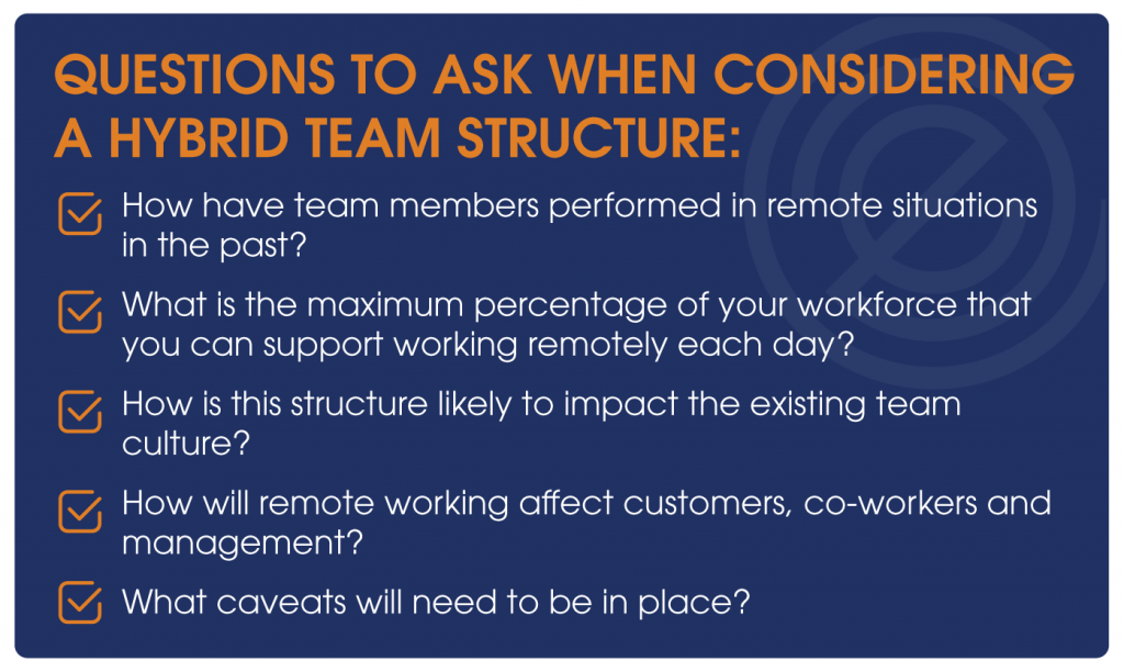 Questions to ask when considering a hybrid team structure: