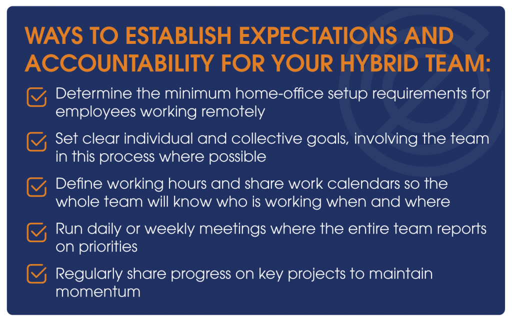 Ways to establish expectations and accountability for your hybrid team: