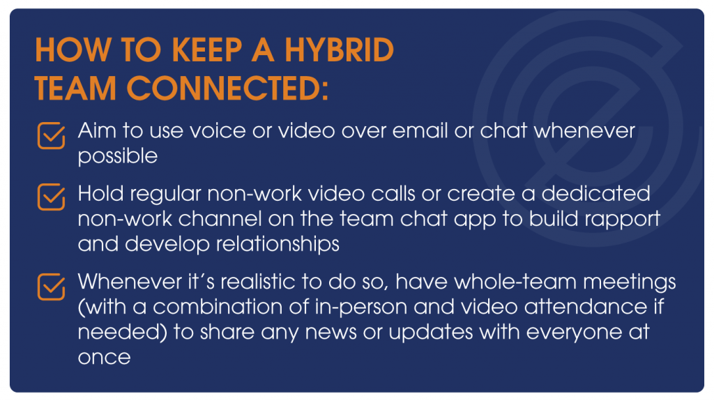 How to keep a hybrid team connected: